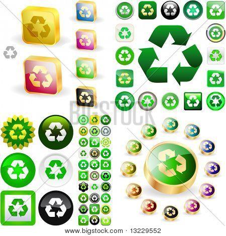 Recyceln Sie Symbolsatz. Vektor große Sammlung.