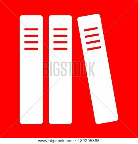 Row of binders, office folders icon. White icon on red background.