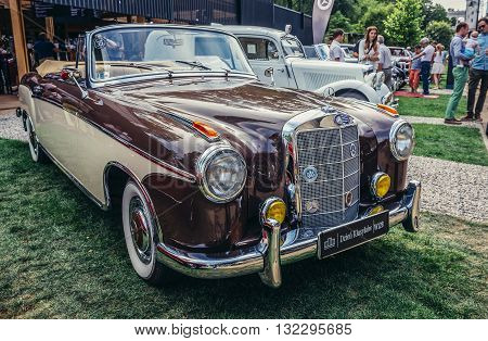 Warsaw Poland - August 2 2015: Mercedes W128 220SE from 1959 during retro cars show in Warsaw