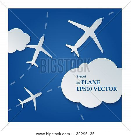 Traveling by plane across the blue sky with clouds.Air blue background with clouds and aircraft.