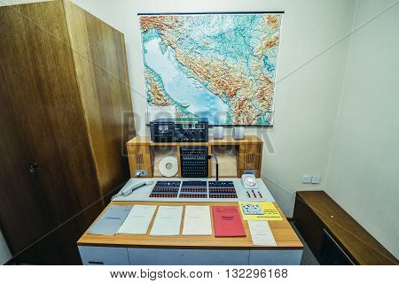 Konjic Bosnia and Herzegovina - August 25 2015. Military intelligence office in ARK (Atomska Ratna Komanda) Nuclear Command Bunker built between 1953 and 1979 for Josip Broz Tito