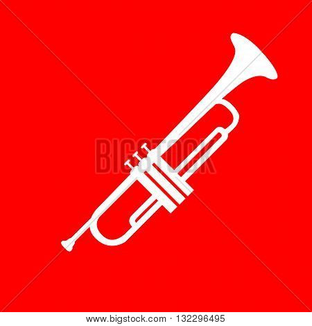Musical instrument Trumpet sign. White icon on red background.