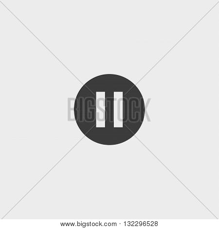 Pause icon in a flat design in black color. Vector illustration eps10