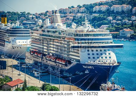 Dubrovnik Croatia - 26th August 2015. Mein Sschiff 3 cruise ship in Bay of Gruz port in Dubrovnik