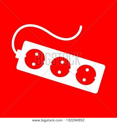 Electric extension, electric plug sign. White icon on red background.