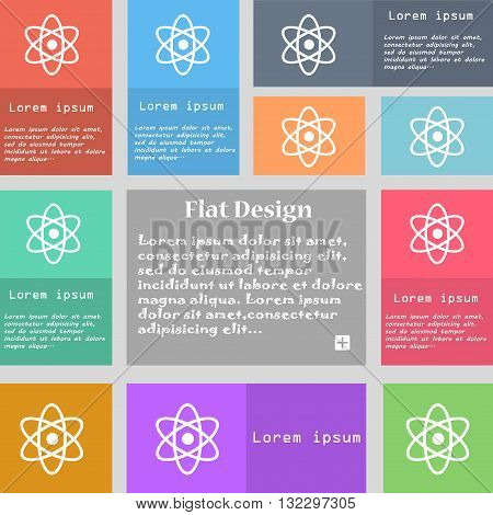 Atom, Physics Icon Sign. Set Of Multicolored Buttons With Space For Text. Vector