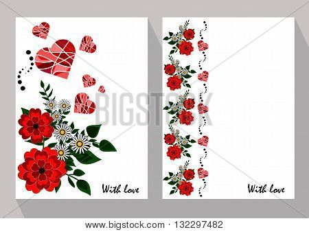 Greeting cards with abstract chamomiles and red flowers in ethnic style for declarations of love a gift for a loved one or a donation for the holiday or other