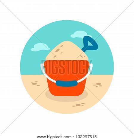 Sand Bucket and shovel vector icon. Beach. Summer. Summertime. Vacation eps 10