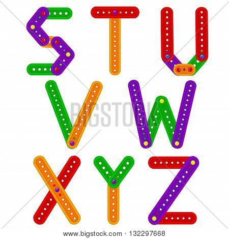 alphabet from constructor from S to Z - vector illustration, eps