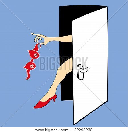 Vector illustration of an open door through which a woman's arm appears and is waving the bra she has just removed. We also see her leg and red high heels.