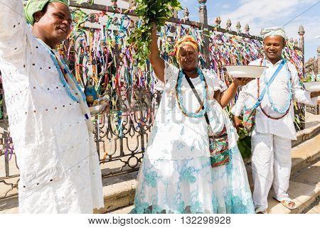 Brazilian group wearing traditional clothes at Bonfim Church in Salvador, Bahia, Brazil