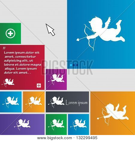 Cupid Icon Sign. Buttons. Modern Interface Website Buttons With Cursor Pointer. Vector