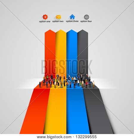 People crowd on the graph. Clean vector illustration