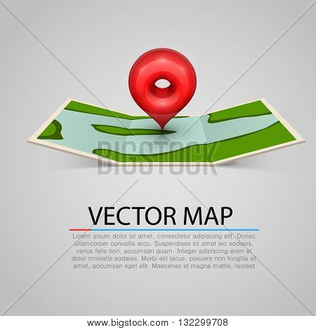 Paper map sign with red mark. Vector illustration