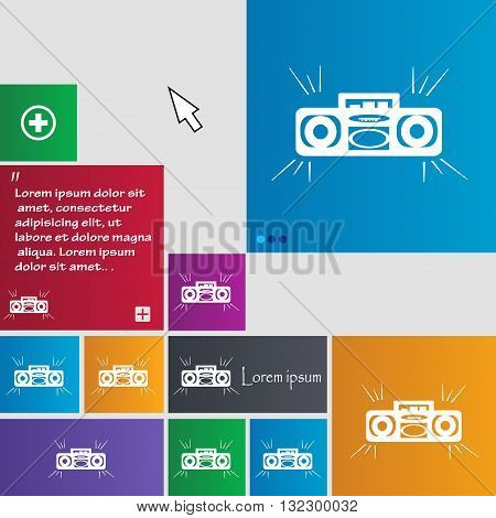Radio Cassette Player Icon Sign. Buttons. Modern Interface Website Buttons With Cursor Pointer. Vect