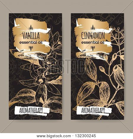 Set of two labels with Vanilla planifolia aka Vanilla and Cinnamomum verum aka cinnamon sketch on elegant black lace background. Aromatherapy series.