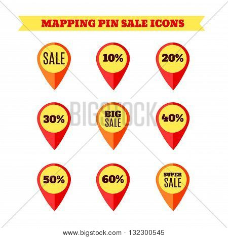 Mapping pins and pointers with Sale Signs. Big and Super Sale. Red Color. Isolated on White