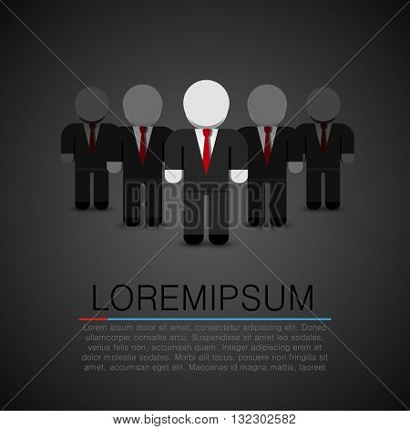 The Real Leader - Business Man in crowd. Leader art. Leader flat people. Vector illustration