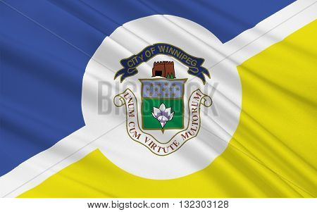 Flag of Winnipeg is the capital and largest city of the province of Manitoba in Canada.
