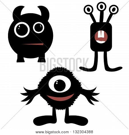 funny monsters painted black, silhouette, pretty, simple