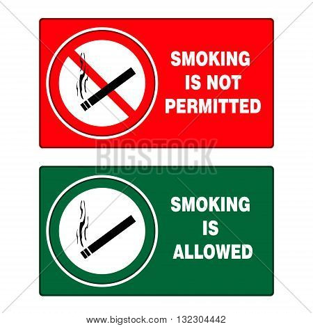 No smoking and smoking area signs on white background vector illustration