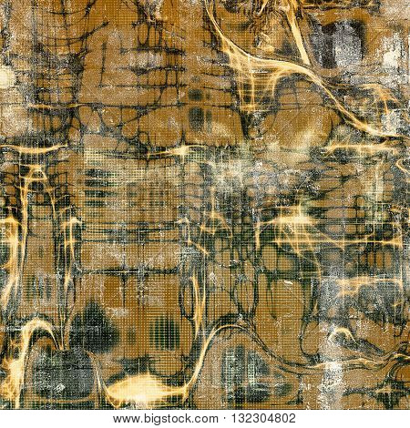 Tinted vintage texture, aged decorative grunge background with traditional antique elements and different color patterns: yellow (beige); brown; green; gray; black
