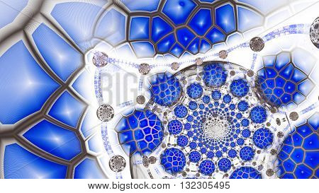 Animal cells under microscope. Extraterrestrial protein life. Cosmic mind. DNA. Mysterious psychedelic relaxation wallpaper. Fractal abstract pattern. Digital artwork creative graphic design.