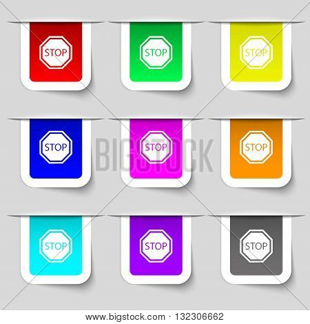Stop Icon Sign. Set Of Multicolored Modern Labels For Your Design. Vector