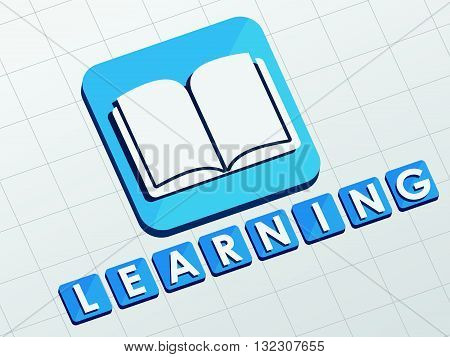 learning and book sign - white text with symbol in blue flat design blocks, education concept, vector