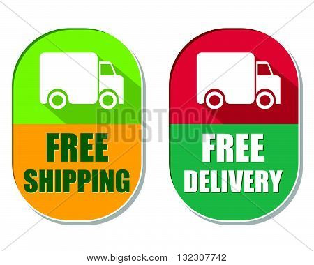 free shipping and delivery with truck symbol, two elliptic flat design labels with icons, business transportation concept, vector
