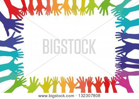 Colorful hands in a frame background as a symbol of tolerance and integration