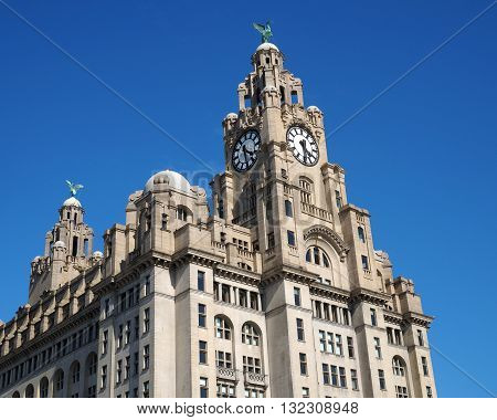 Liver building Liverpool,Merseyside,UK against a blue sky