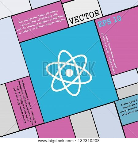 Atom, Physics Icon Sign. Modern Flat Style For Your Design. Vector