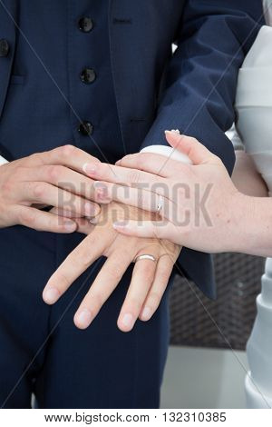 Groom Put The Wedding Ring On Bride Close Up