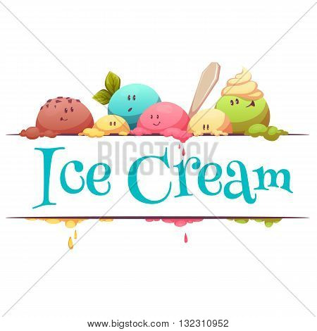 Ice cream banner with color drops. Vector illustration.