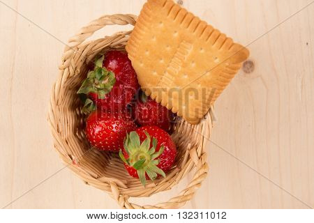 Strawberries In Natural Background With Cake Flat Lay