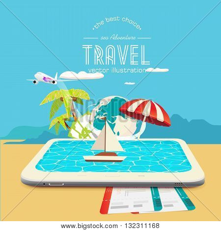Booking travel through your mobile device. The boat drifting on the tablet