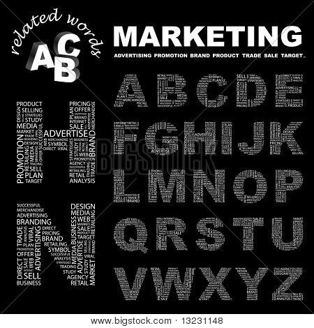 MARKETING. Vector letter collection. Wordcloud illustration.