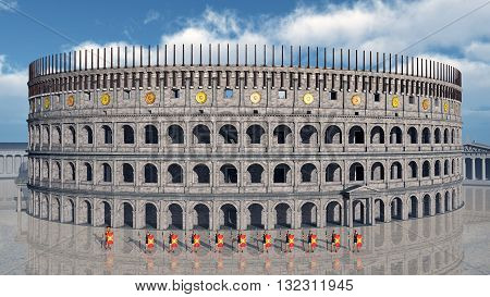 Computer generated 3D illustration with legionaries and Colosseum in ancient Rome