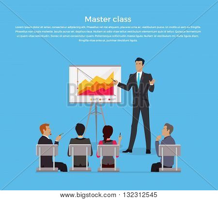 Training staff briefing presentation. Master class, staff meeting, staffing and corporate training, employee training, mentor and people, business seminar, meeting group vector illustration