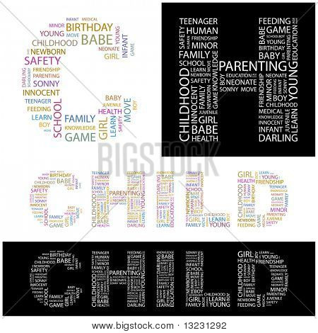 CHILD. Word collage. Vector illustration.