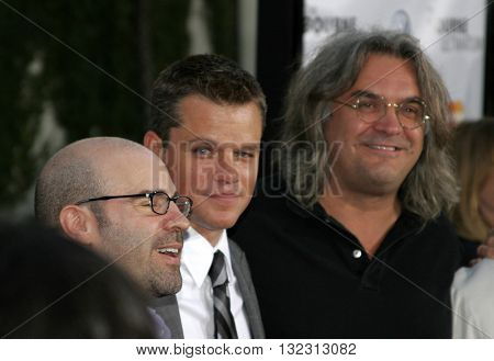 Paul Greengrass and Matt Damon at the Los Angeles premiere of 'The Bourne Ultimatum' held at the ArcLight Cinemas in Hollywood, USA on July 25, 2007.