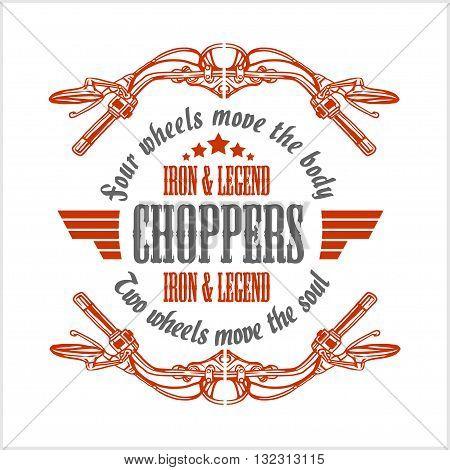 Vintage Motorcycle label, Retro chopper bike emblem