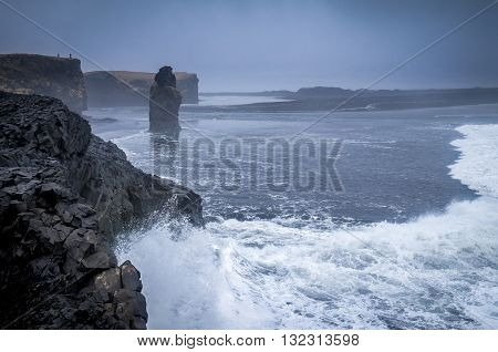 North Atlantic crashing on the cliffs, Reynisfjara, Iceland