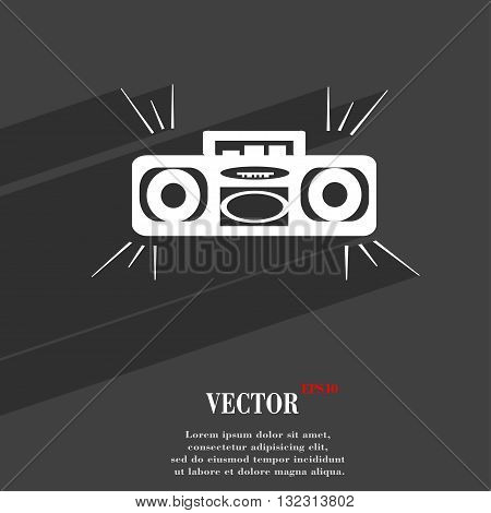 Radio Cassette Player Symbol Flat Modern Web Design With Long Shadow And Space For Your Text. Vector