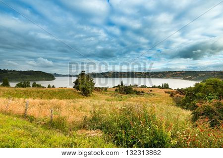 Landscape at Chiloe Island in lake district Chile