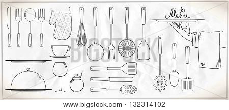 Graphic set of kitchen utensils and tableware