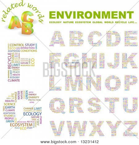 ENVIRONMENT. Vector letter collection. Wordcloud illustration.