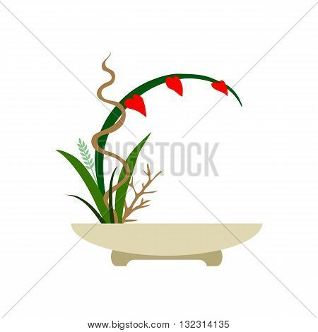 Ikebana. Japanese bouquet. Object isolated on white background.