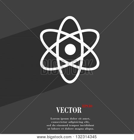 Atom, Physics Symbol Flat Modern Web Design With Long Shadow And Space For Your Text. Vector